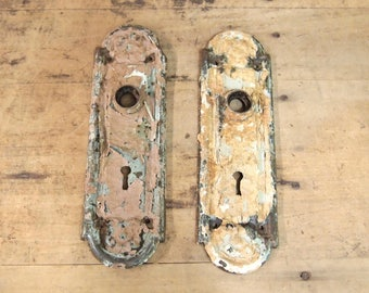 Free Shipping Lot of 2 Vintage Escutcheon Door Key Plates Nice and rusty and shabby assemblage projects birdhouse Chippy