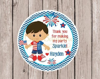 Little Firecracker Boys Birthday Party Favor Tags or Stickers / Choose Hair and Skin Color / Fourth of July Party for Boys / Set of 12