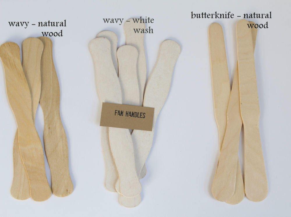 125 white wash fan handles wedding program fan sticks aged