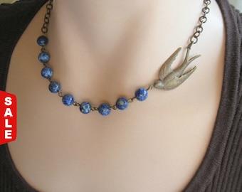 Blue bird Necklace, BlueBird Necklace, Nature Jewelry, Woodland Jewelry, Bird Watcher, Nature Lover, Gemstone Necklace