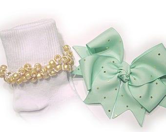 Kathy's Beaded Socks - Mint Green with Gold Dots Socks and Hairbow, holiday socks, pony bead socks, gold socks, pearl socks, holiday socks