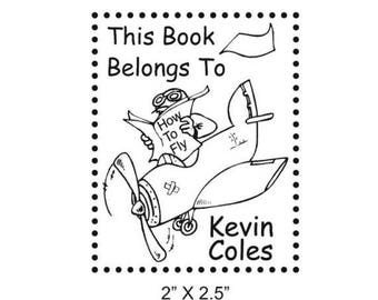 Super Summer Sale Custom Airplane How To Fly Bookplate Ex Libris Rubber Stamp B34