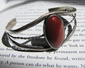Red Hills - Vintage Silver and Carnelian Navajo Cuff Bracelet