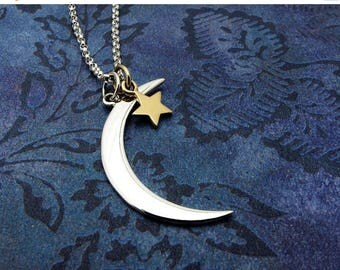 moon necklace, crescent moon necklace, sterling silver, moon and star necklace, gold star, celestial necklace, astrology gift, gift for her,