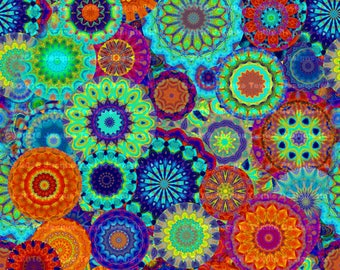 Designer Artist Created Canvas By the Yard Upholstery Fabric Colorful Kaleidoscope Flower Living Decor
