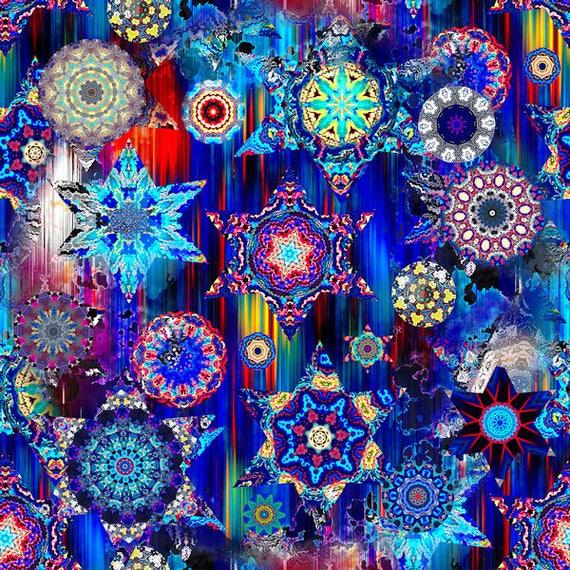 Handmade Textile Artist Made Decor Kona Cotton Fabric Quilting Kaleidoscope Blue Sky Stars