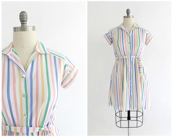 vintage 1970s candy stripe poly knit shirt dress   70s button down shirtwaist dress   vtg pastel stripe dress   medium/large