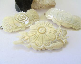 Mother of Pearl Carved Brooch and Barrettes, MOP carved floral pin, mother of pearl hair pins, Vintage MOP, Mother of the Bride, Flower Girl