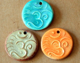 3 Ceramic beads - Om Pendants in Rustic glazes  - Handmade Jewelry Supplies - Summer colors - Namaste symbol for Meditation and Serenity -