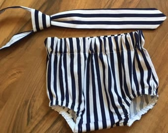 RTS in a size 12-24 Month Necktie, Diaper Cover Set Navy & White Striped Photography Prop, Dressy Baby Boy