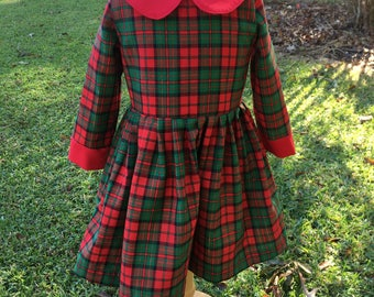Traditional red and green Christmas holiday girls dress
