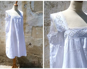 Vintage Antique  French Edwardian 1900 white cotton dress underdress nightgown  eyelet handmade embroideries size  L