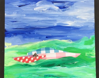 Abstracted Summer Picnic Daily Painting Acrylic and Paper