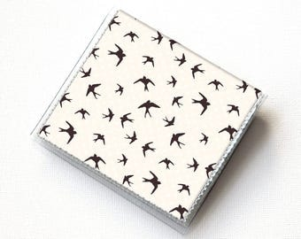 Vinyl Moo Square Card Holder - The Birds / blue, clouds, hitchcock, snap, mini card case, moo case, small, square, gift, teal and red