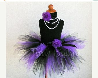 SUMMER SALE 20% OFF Raven - Purple and Black 3 Tiered Pixie Tutu - Custom Sewn 3 Layer Pixie Tutu - Perfect for Halloween - Sizes up to 5T