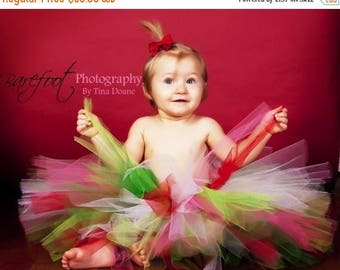 "SUMMER SALE 20% OFF red white green pink tutu - Whobilation Celebration Tutu - Custom Sewn 8"" Christmas Tutu - sizes newborn up to 5T"