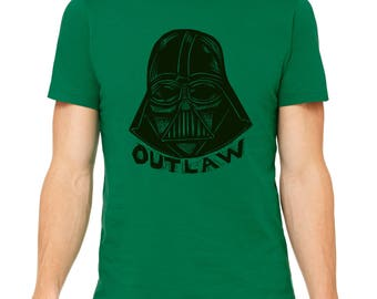 Outlaw Vader Hand Carved   Woodblock Printed T Shirt