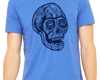 Skull Hand Carved   Woodblock Printed T Shirt