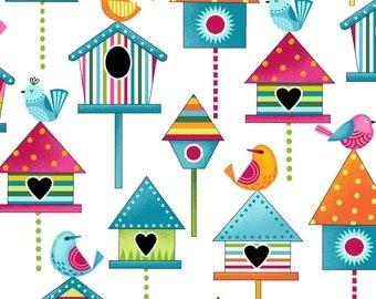 NEW Sunshine Kisses by Studio E -Bird Houses on White, yard