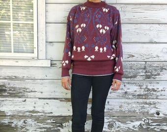 Vintage 90s sweater,soft,geometric,floral,knitted,cozy,winter,boho,S,M,puffy sleeve,blue,dusk pink,warm,light,comfy,stylish,novelty,fall