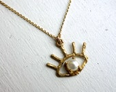 Brass and Pearl Beholder Eye Pendant- Handmade in Brass on a 14k goldfilled chain Eye lashes evil eye necklace