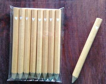 8 tiny heart mini pencils