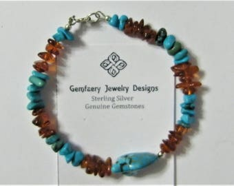 Sterling Silver Natural Nevada Turquoise and Baltic Amber Gemstone Bracelet...Handmade USA