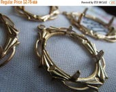 On Sale 25% Off Fancy Open Cameo Setting in Raw Brass fits 18x13mm Oval 2 Pcs