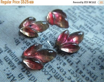 SALE 30% Off Vintage Givre Leaves Hyacinth Orange and Jonquil Yellow Leaves 14x11mm Cabochons 4 Pcs