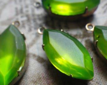 Neon Matte Green 18x9mm Painted Glass Navette Brass Ox Earring Drops 4 Pcs