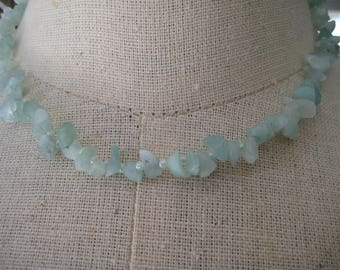 Choker Necklace in Light Green Semi precious chips and Seed beads