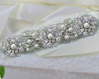 Pearl Bridal Belt, wedding dress Sash, Bridal sash, wedding sash, Wedding dress belt, Ribbon sash, Wedding belt, Pearl wedding sash