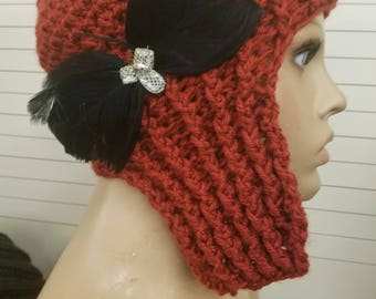 Rust Colored Crochet Hat - with Feather Bow - Crochet Hat