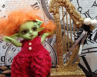 1:12 1/12 Amelia Thimble Real Puki Hujoo Pocket Fairy Gold Goth Holiday Harp