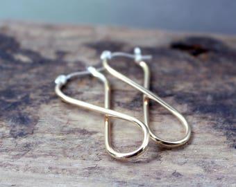 Golden Infinity Hoop Earrings - Gold Filled Hoop Earrings - Lever Catch Earrings