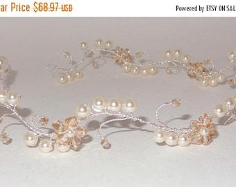 15% OFF Swarovski Crystallized Pearl Crystal Bridal Hair Vine Tiara Head Band Headband Wrap Circlet Crown Wreath Wedding Hairvine