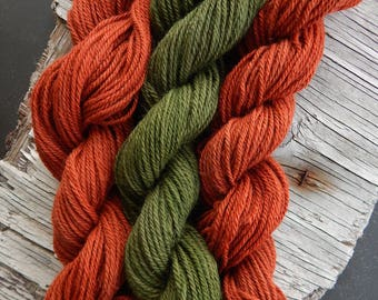 Hand Dyed Alpaca Yarn Trio in Fall Colors Worsted Weight Knit Crochet Weaving Projects DIY Handmade 300 Yards