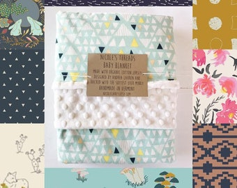 Organic Cotton Baby Blanket - Lined With Minky - Choose from a variety of fabrics