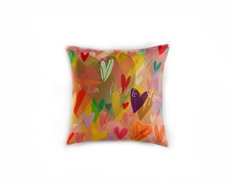 """Hearts throw pillow  41cm (16"""") with insert"""