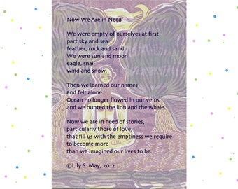 Poetry Postcard--Now We Are in Need