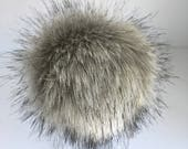 Luxury Gray Wolf Faux Fur Pom Pom