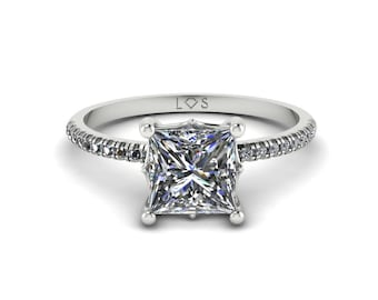 """Diamond Engagement Ring Semi Mount - 6mm Princess """"Lola"""" Solitaire Ring by Laurie Sarah - add the center stone of your dreams - LS5132"""