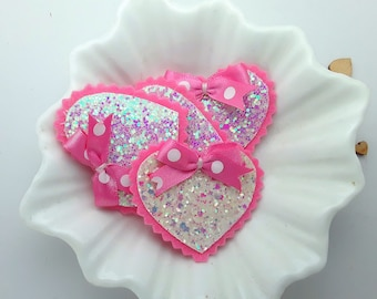 Hair Clips Pink and White iridescent glitter heart hair clip, Pink glitter heart barrette, Pink glitter heart hair slide, hair clips
