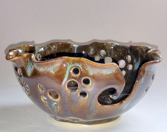 Pottery Yarn Bowl  - Wheel Thrown with Scalloped Edge - Brown, Amber & Teal