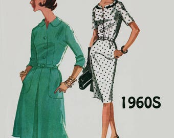 Vintage 1960s Madmen Dress w/ Full or Slim Skirt Sewing Pattern McCalls 6194 60s Mod Pattern Plus Size 18 Bust 38