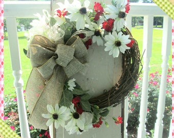 Wreath, Burlap Bow with White and Red flowers, Wreath Door Decor Fall Burlap Door Decor, Wall Hanging, Door Decoration, Wreath, Wall Hanging