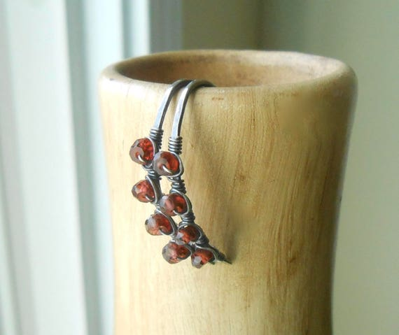 Garnet Wire Wrapped Antiqued Silver Hoop Earrings