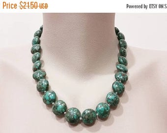 ON-SALE Beaded Necklace - Mosaic Turquoise Jewelry, Statement Neckace, Gemstone Handmade Jewelry