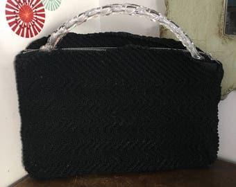 Vintage Corde Purse with Lucite Handle, Black Corde Envelope Style Bag Metal Zipper Closure 1940's