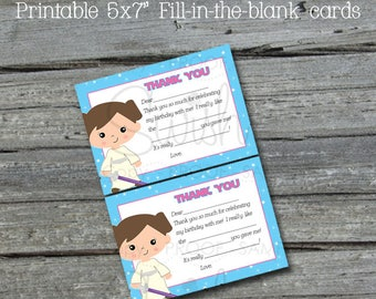 Space Party  Printable Thank You Cards  | Jedi Thank You Notes | Princess Fill in the Blank Cards | Digital download | Instant download